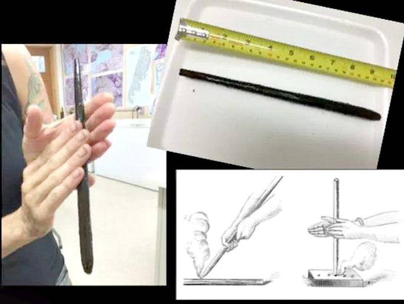 Alisha Gauvreau sostiene un taladro de mano que cuenta con 6.000 años de antigüedad. Una de las herramientas con las que los humanos de entonces conseguían hacer fuego. (Fotografía: Código Oculto)