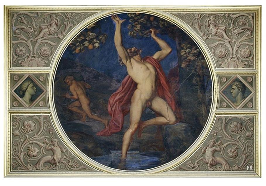 """""""Tántalo y Sísifo en el Hades"""" (ca. 1850), pintura mural (ahora destruida) de la Niobidensaal (""""Sala de los Nióbidas""""), Neues Museum, Berlín, Alemania. (Dominio público)"""
