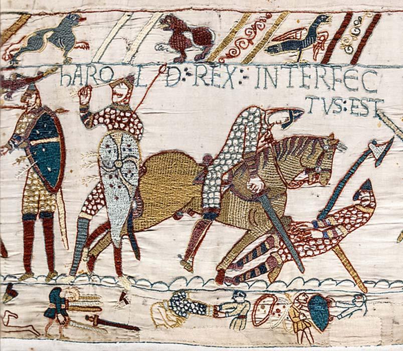 """Escena 57 del tapiz de Bayeux: Muerte de Harold. Leyenda: 'Harold rex interfectus est', """"Han dado muerte al rey Harold."""" (Dominio público)"""