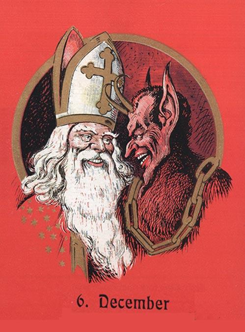 Tarjeta de felicitación austríaca en la que aparecen juntos San Nicolás y el Krampus. (Public Domain)
