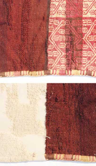 Detalle de las telas restauradas. (Museo Regional de Iquique)