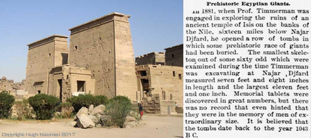 El templo de Isis en la isla de Filé junto con el artículo de periódico que detalla el descubrimiento de los gigantes. Fotografía: Hugh Newman.