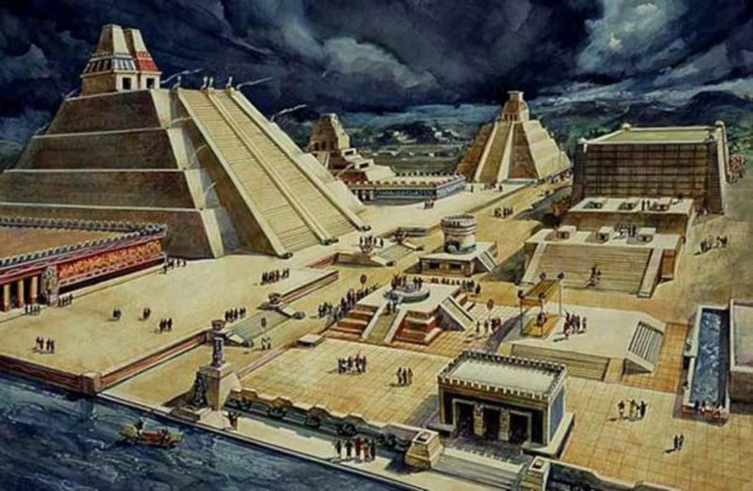 Este dibujo de Diego Rivera nos muestra el posible aspecto de parte de la antigua ciudad azteca de Tenochtitlán. (Dominio público)