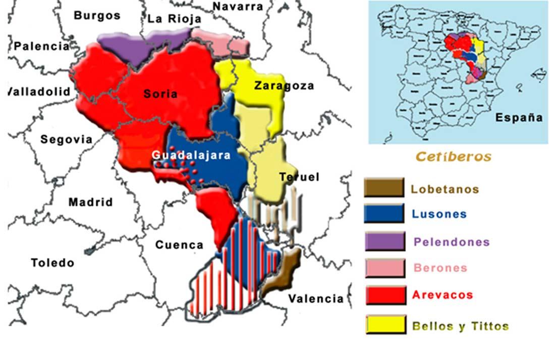 Territorio ocupado por el pueblo celtíbero con las probables localizaciones de sus subgrupos. (Public Domain)