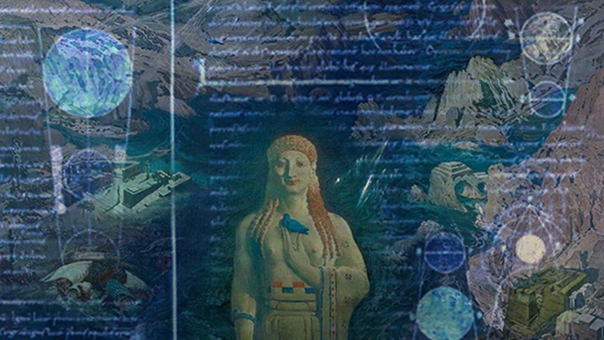 Terror Antiquus, óleo de L.Bakst (1908) (Public Domain). Superpuestas, imágenes de un manuscrito medieval, traducción al latín del diálogo de Platón 'Timeo.' (Public Domain).