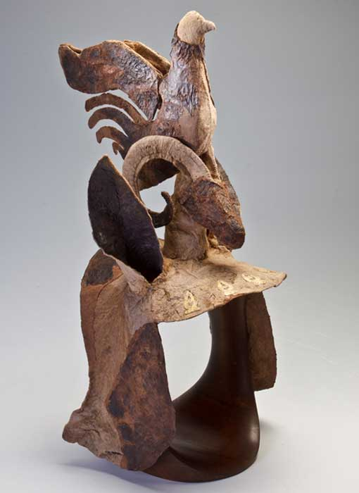 Testera escita utilizada como protección para la cabeza de un caballo. Montículo 1, Pazyryk, Altái. Finales del siglo IV a. C. – principios del III a. C. (Museo Estatal del Hermitage, San Petersburgo, 2017/V. Terebenin)