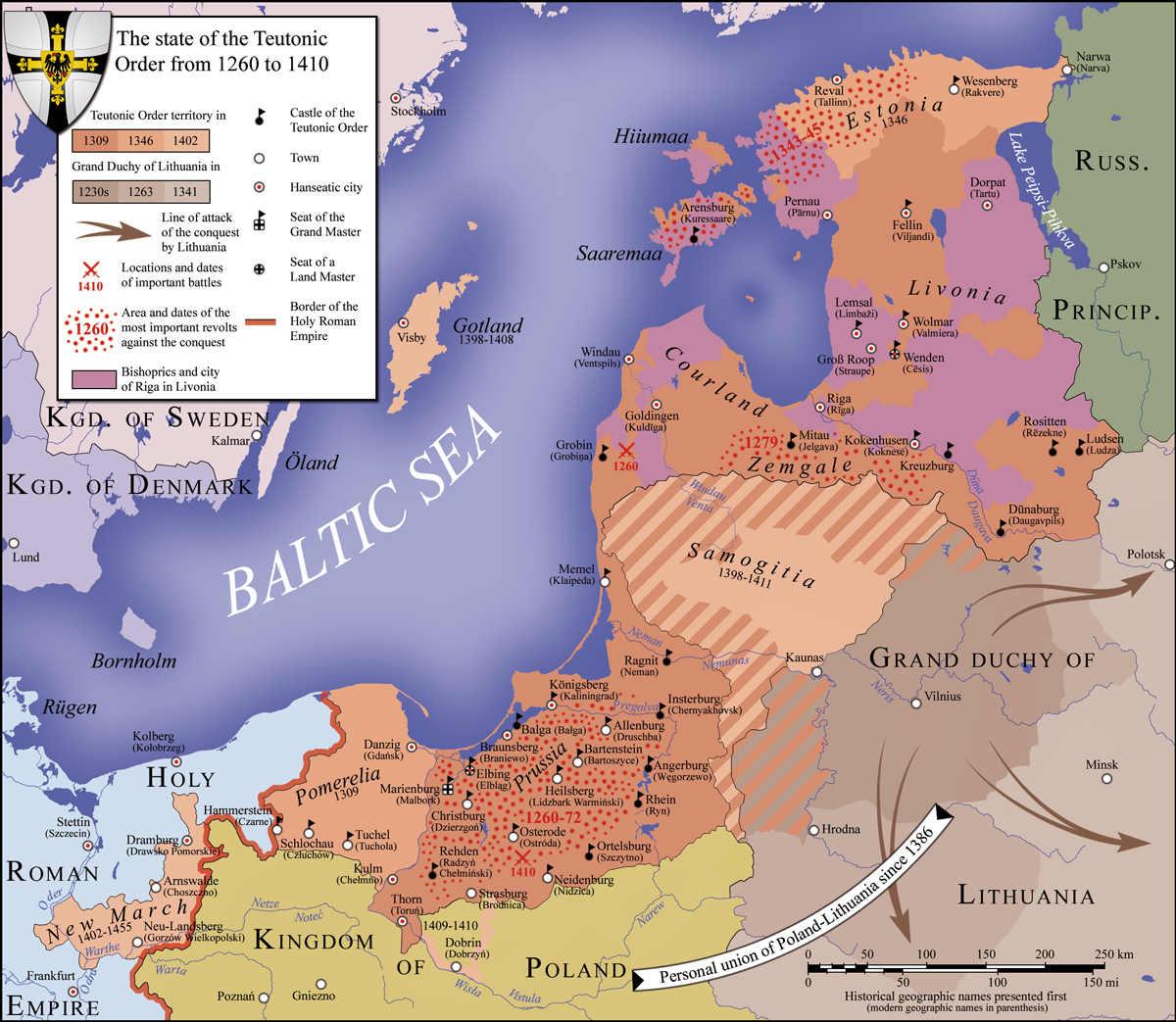 Territorio del Estado de la Orden Teutónica; las localizaciones y fechas de las batallas más importantes, incluida la batalla de Grunwald, aparecen indicadas por espadas cruzadas de color rojo. (CC BY-SA 3.0)