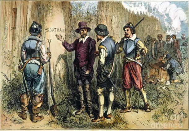 """""""La Colonia Perdida,"""" pintura de Granger, muestra a John White de regreso a la isla de Roanoke, encontrándose con la palabra """"Croatoan"""" grabada sobre un poste de madera. (Imagen de Fine Art America)"""