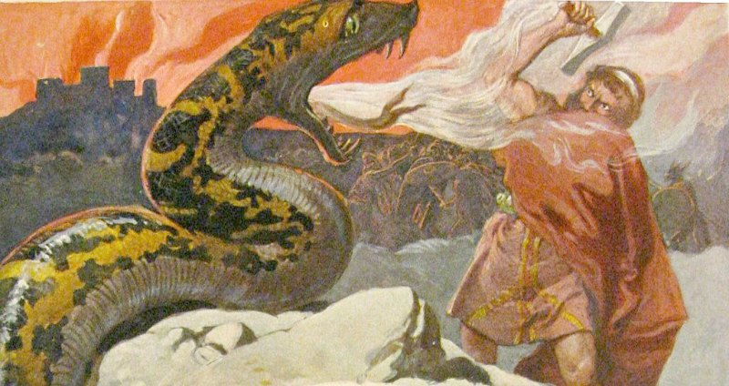 """Escena de Ragnarök, la batalla final entre Thor y Jörmungandr. Ilustración de Emil Doepler para el libro: """"Walhall, die Götterwelt der Germanen"""" Martin Oldenbourg, Berlín, pág. 56, publicado en el año 1905. (Public Domain)"""