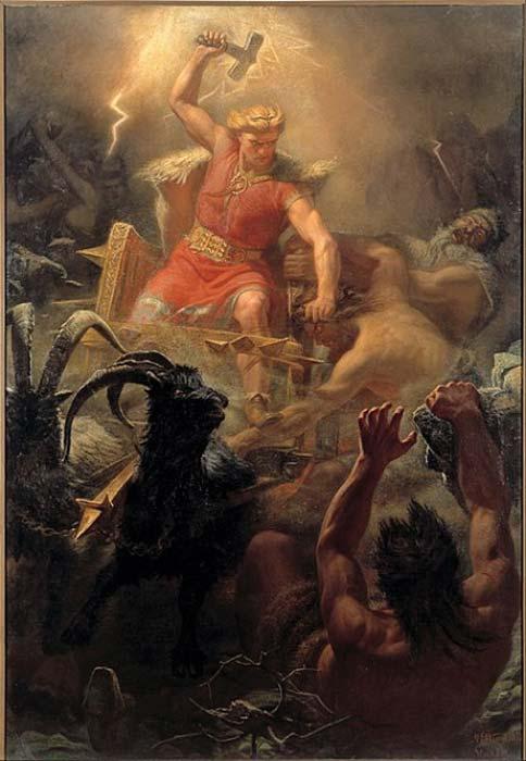 En esta pintura de Mårten Eskil Winge (1872) podemos ver a Thor empuñando su famoso martillo, Mjölnir, contra los gigantes. (Dominio público)