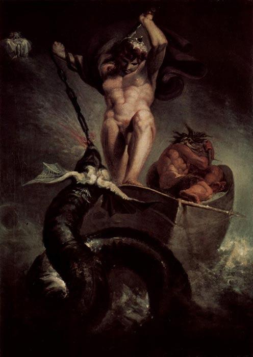 """""""Thor en la barca de Hymir luchando con la serpiente de Midgard"""" (1788), óleo de Henry Fuseli. (Public Domain)"""