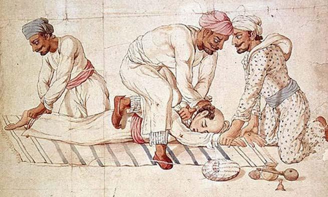 Un grupo de Thugs estrangula a un viajero en un camino de la India, principios del siglo XIX. (Dominio público)