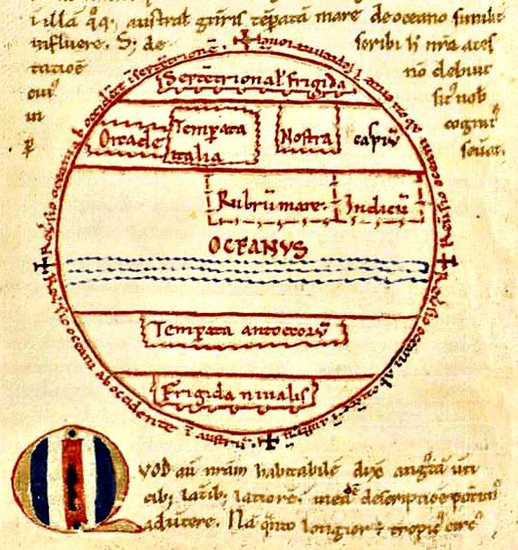 Figura de la Tierra obra de Macrobius, 'Commentarii in Somnium Scipionis' (hacia 1150). Biblioteca real de Dinamarca. (Public Domain)