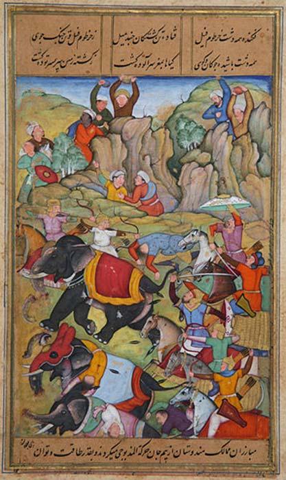 Timur derrota al sultán de Delhi, Nasir Al-Din Mahmum, en el invierno de 1397-1398. (Stuntelaar/Dominio público)