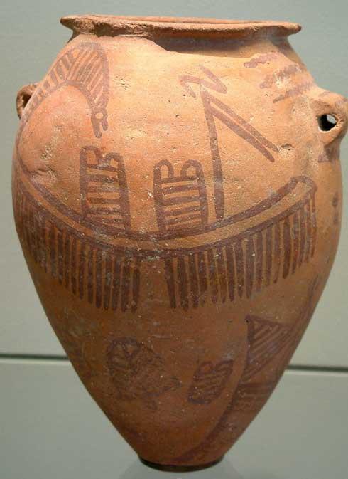 Típica tinaja egipcia de cerámica predinástica con un barco dibujado. (CC BY-SA 1.0)