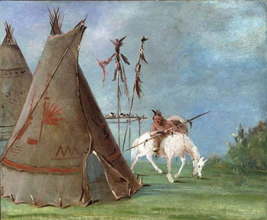 'Tipi y guerrero comanches' (1835), óleo de George Catlin. (Dominio público)