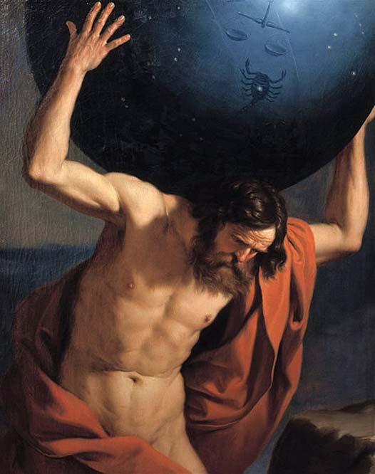 Uno de los gigantescos Titanes, Atlas, quien fue castigado a sostener los cielos sobre sus hombros por toda la eternidad. (Dominio público)