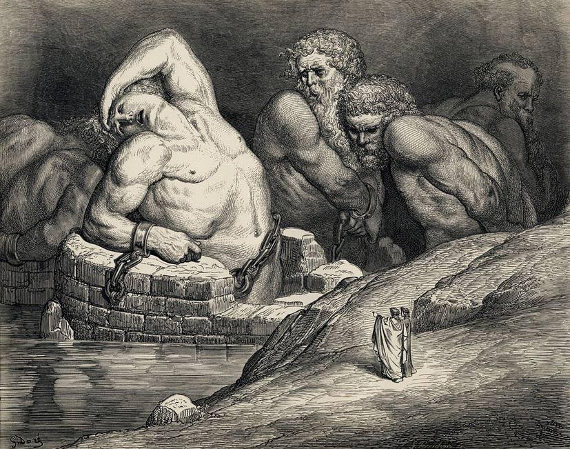 Los Titanes y otros gigantes aparecen prisioneros en el Infierno en esta ilustración de la Divina Comedia de Dante, obra de Gustave Doré (Wikimedia Commons)