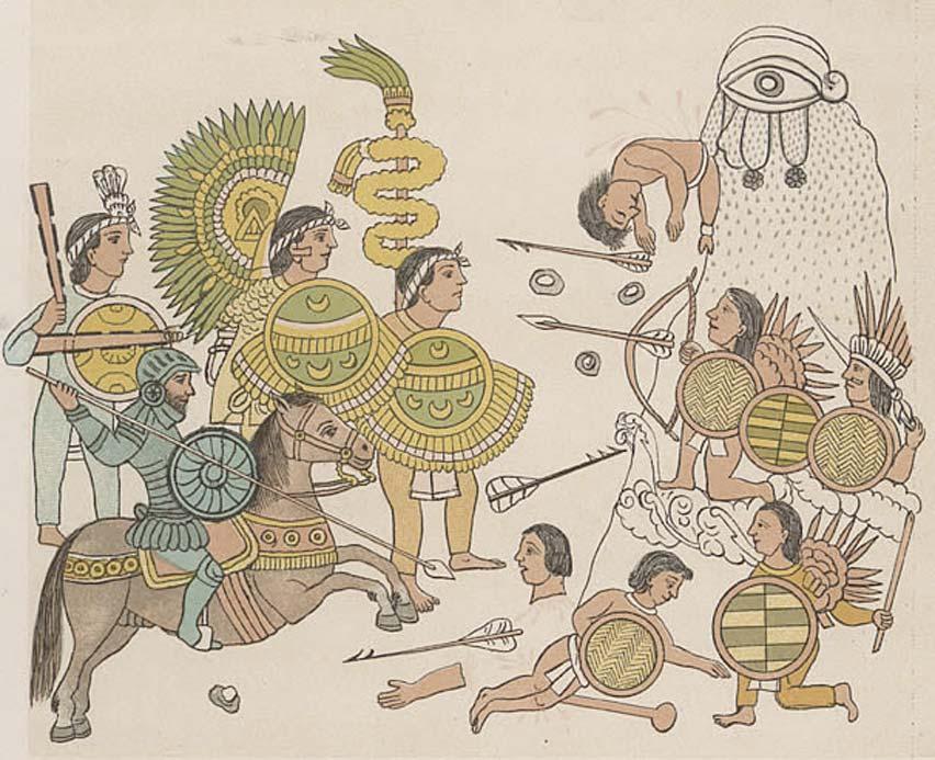 Fuerzas tlaxcaltecas acompañan a los españoles en sus exploraciones posteriores a la conquista del norte de México. Entrada en Guadalajara, Jalisco. Los tlaxcaltecas portan sus tradicionales mazas de guerra con afiladas piedras de obsidiana incrustadas. (Dominio público)