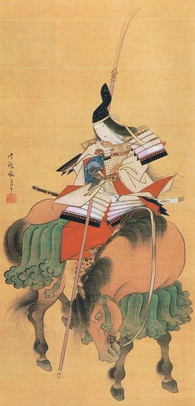 Tomoe Gozen, pintura sobre seda de Shitomi Kangetsu. (1747-1797) Museo Nacional de Tokio.( Wikimedia Commons)