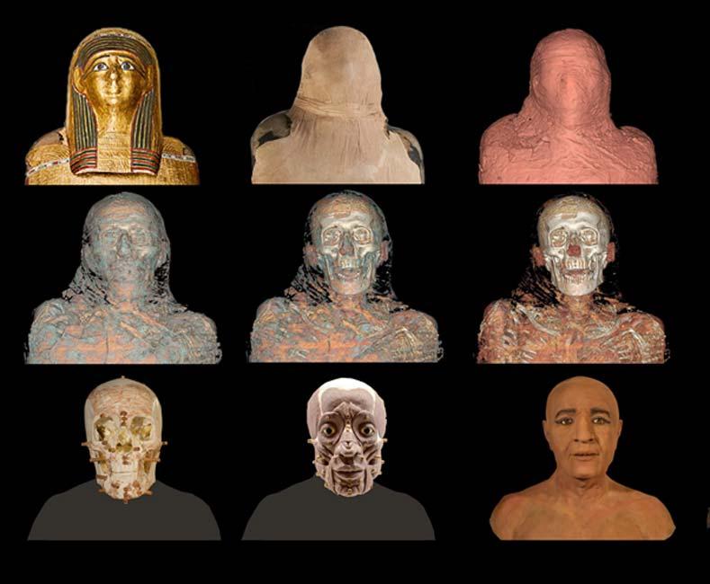Eliminación de capas mediante escáner y posterior reconstrucción del posible rostro del sacerdote. (Imagen: MAN)