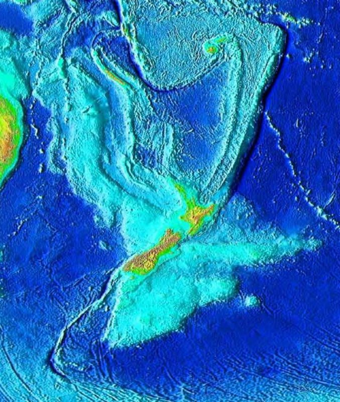 Topografía de Zealandia. Las líneas que se marcan al norte, al noreste y al suroeste, lejos de Nueva Zelanda, no son consideradas parte del continente. Tampoco Australia, Fiji ni Vanuatu. (Public Domain)