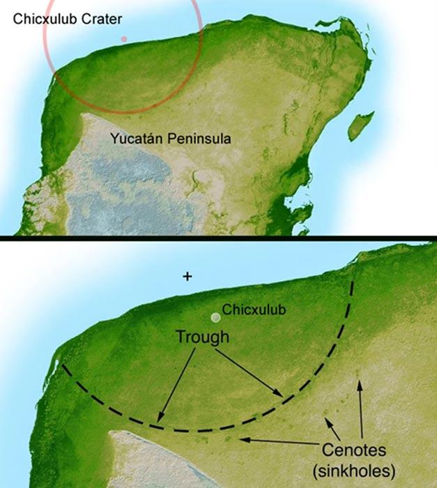 La topografía por radar ha revelado la existencia de este cráter de 180 kilómetros; esparcidos alrededor del borde del cráter se observan numerosos cenotes, lo que sugiere la existencia de una cuenca oceánica prehistórica en la depresión que provocó el impacto. (Public Domain)
