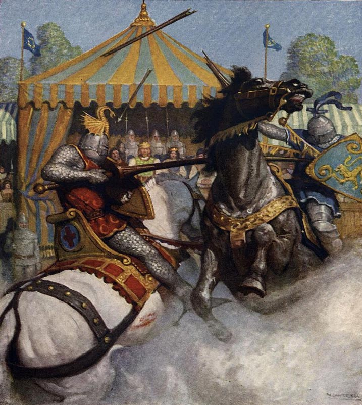 """Los hombres del Rey Arturo en un Torneo de Caballería .Imagen tomada de The Boy's King Arthur: """"La lanza de Sir Mador se hizo pedazos, mas la del otro caballero resistió"""". Obra de N.C.Wyeth. 1922. (Wikimedia Commons)"""