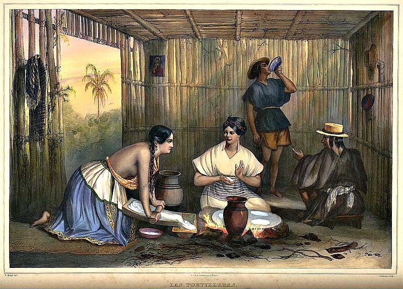 """""""Las tortilleras"""", (1836). Litografía coloreada a mano obra de Carl Nebel (1805-1855). (Public Domain)"""