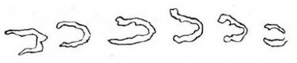 """Dibujo de las """"Huellas del Diablo"""" enviado en una carta del Reverendo G.M. Musgrave de Exmouth, East Devon"""