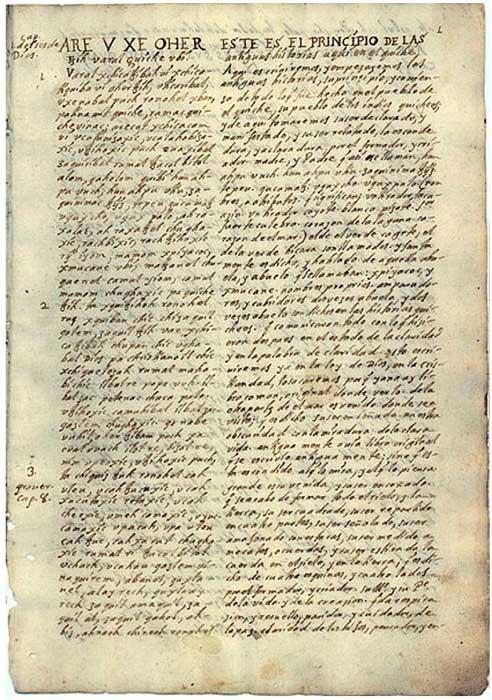 Traducción del Popol Vuh realizada en el siglo XVIII. (Public Domain)