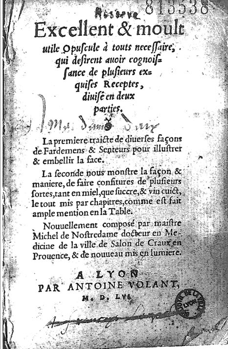 Edición francesa del 'Tratado de la belleza y las confituras' publicada en Lyon en 1555. (Public Domain)