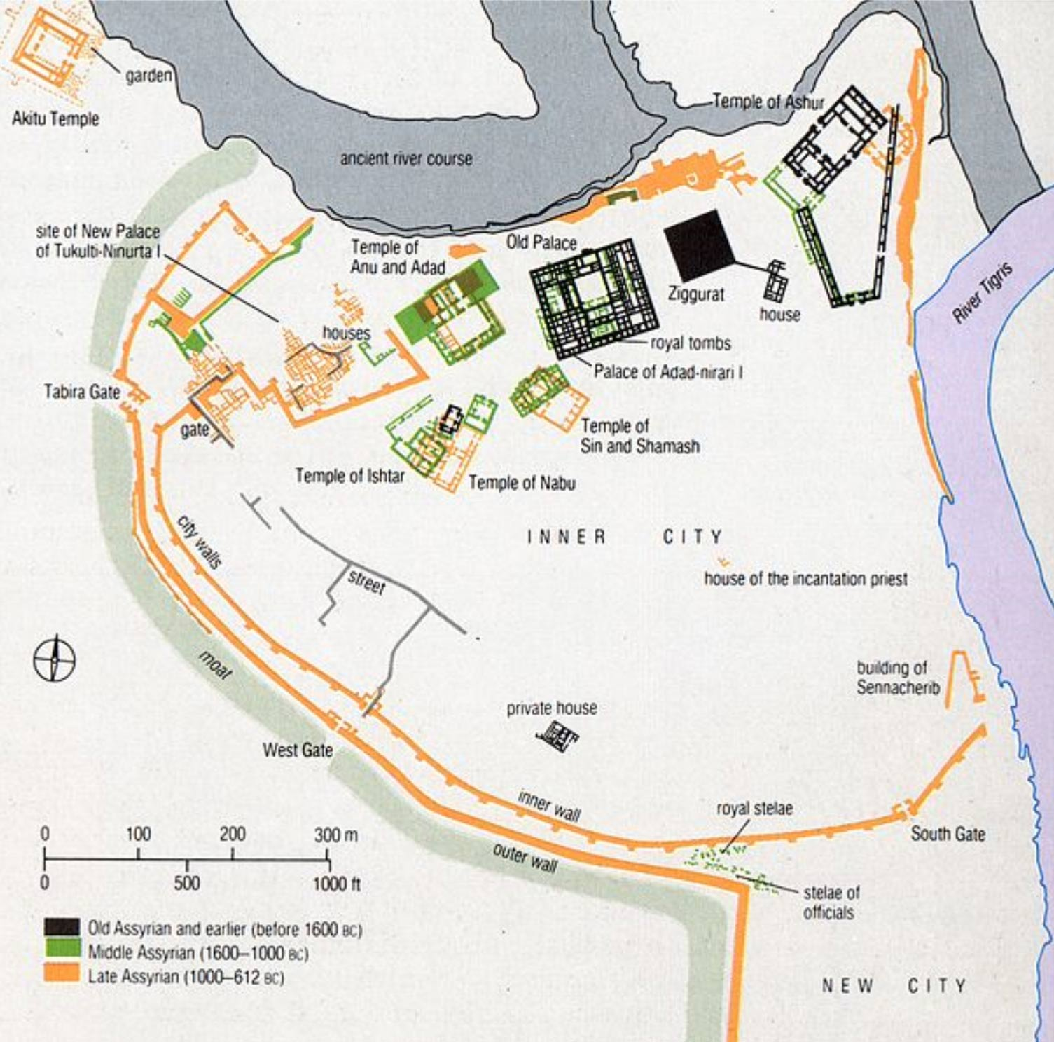 Trazado de la ciudad de Asur a lo largo de los siglos. (CC BY-SA 4.0)