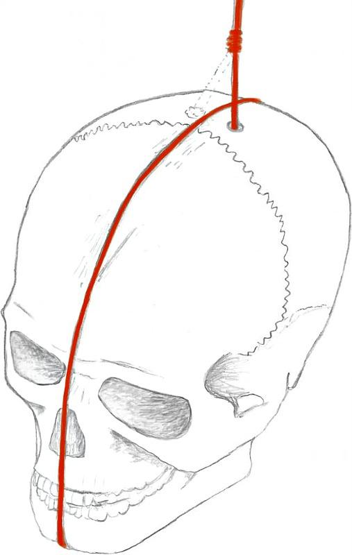 Uno de los cráneos ahora descubiertos presenta un agujero perforado en el hueso parietal izquierdo que, parece ser, era utilizado para suspender el cráneo mediante una especie de cable rojo. (Dibujo: Código Oculto).