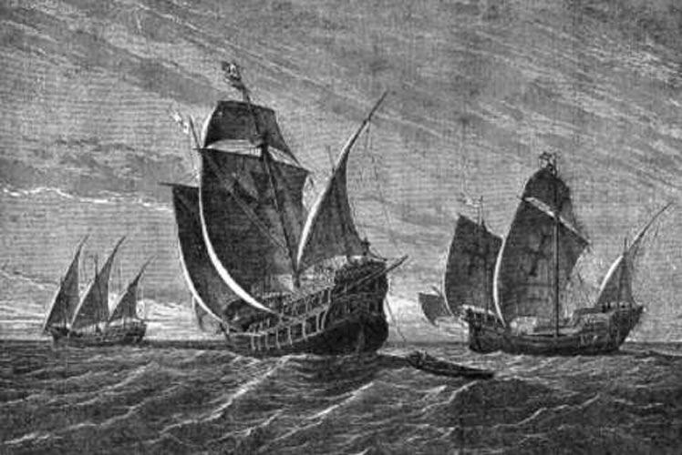 Las tres naves de Colón en una pintura del alemán Gustav Adolf Closs realizada en 1892. Curiosamente, La Niña aparece a la izquierda con vela latina (triangular). (Public Domain)