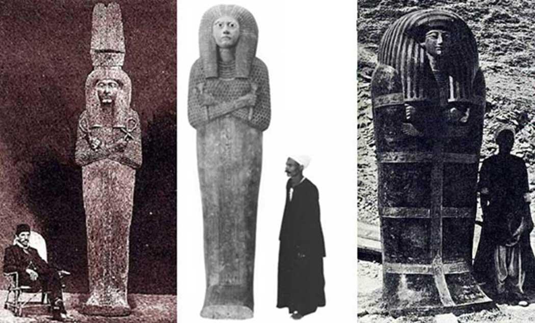Tres ejemplos de ataúdes de gran tamaño procedentes del antiguo Egipto. Cortesía: Muhammad Abdo