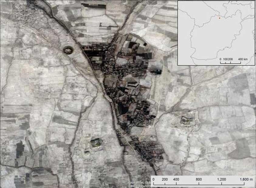 Fotografía aérea de tres antiguos asentamientos recientemente mapeados por CAMEL en la región de Balkh. (DigitalGlobe)