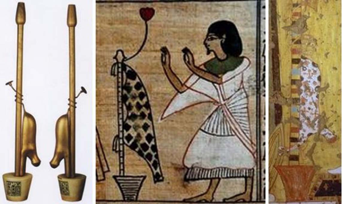 Tres diferentes representaciones del fetiche Imiut. (Cow of Gold/CC BY 3.0)