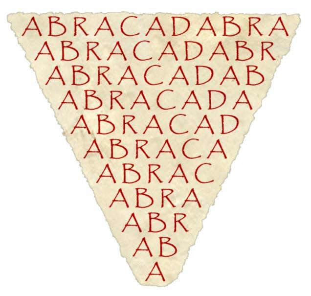 La primera mención conocida de la palabra abracadabra tiene lugar en el siglo III d. C. en un libro llamado Liber Medicinalis. Se pensaba que la palabra, escrita al revés y llevada sobre el cuerpo, tenía poderes reconstituyentes. Wikimedia Commons