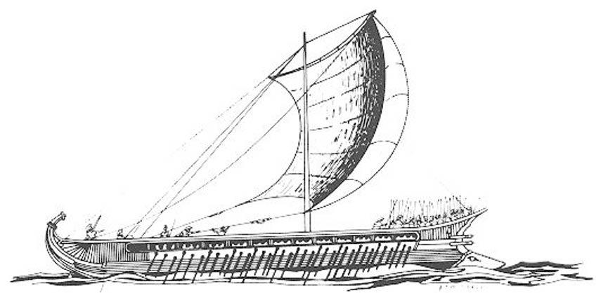 Trirreme griego, ilustración de F. Mitchell; nótese el espolón en la proa, a la derecha de la embarcación. (Wikimedia Commons)