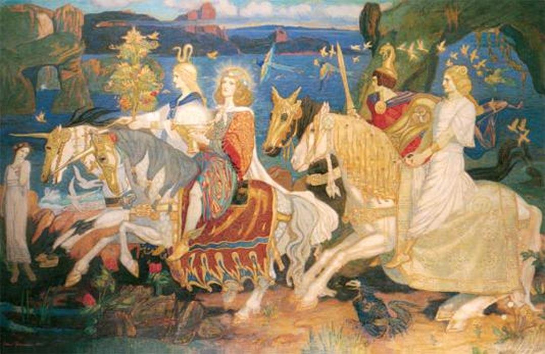 """Los Tuatha Dé Danann tal y como aparecen retratados en la pintura""""Jinetes del Sidhe""""(1911), óleo de John Duncan. (Public Domain)"""