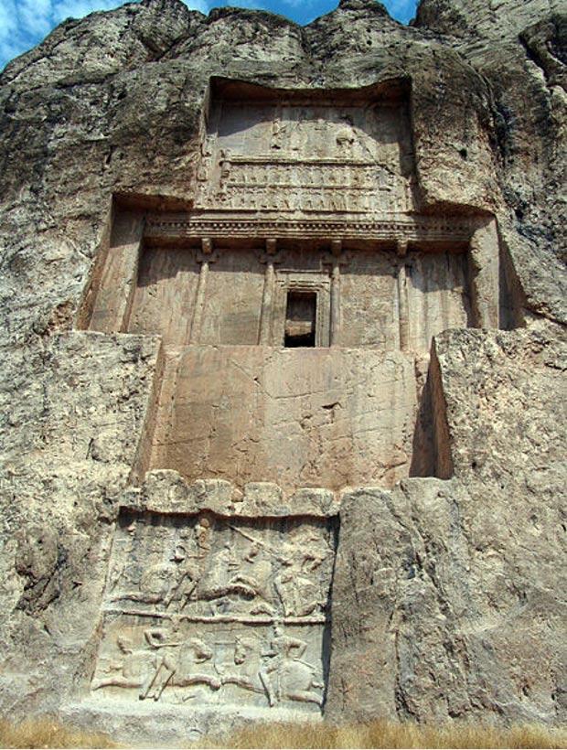 La tumba de Darío I en Naqsh-e Rustam (Wikimedia Commons)