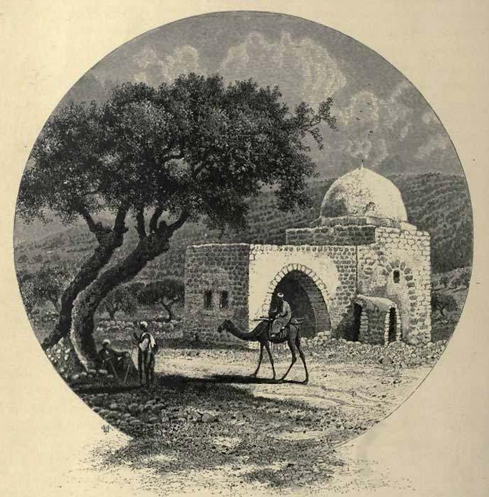 Imaginería popular de la tumba de Raquel en la que aparece con el aspecto que tenía a finales del siglo XIX. (Public Domain)
