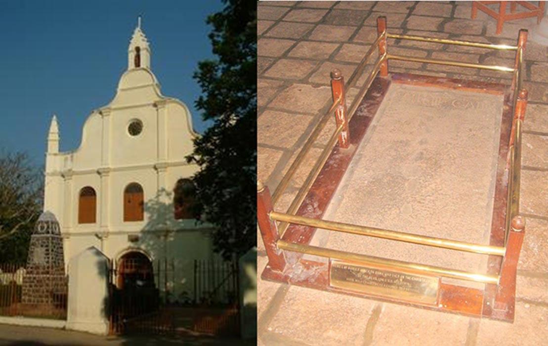 Iglesia de San Francisco de Kochi (Public Domain) y primera tumba de Vasco da Gama en Kochi (India). (Public Domain)