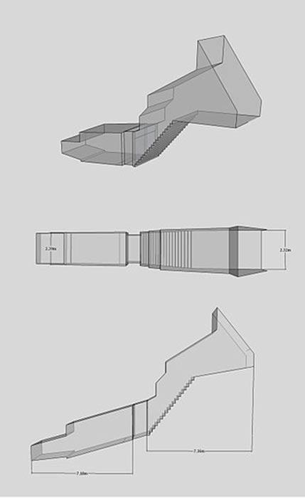 Planta, alzado y perspectiva isométrica de la tumba WV25, realizados mediante un modelo tridimensional de la misma. (R.F.Morgan/CC BY SA 3.0)