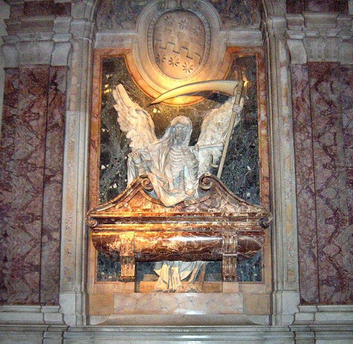 Tumba de un cardenal en una iglesia católica italiana en la que se puede observar una imagen del ángel de la muerte. (Fotografía: Georges Jansoon/Wikimedia Commons)