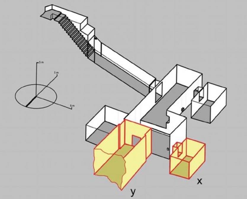 """Diagrama del """"Theban Mapping Project"""" (Proyecto de Cartografía de Tebas) que muestra la tumba conocida del faraón Tutankamón en color gris y las dos posibles nuevas cámaras en amarillo con trazos rojos, una de las cuales, según un investigador, podría ser la cámara funeraria de Nefertiti."""