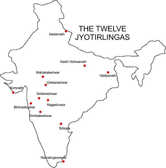 Ubicaciones de los 12 templos Jyotirlinga en la India. (Dominio público)