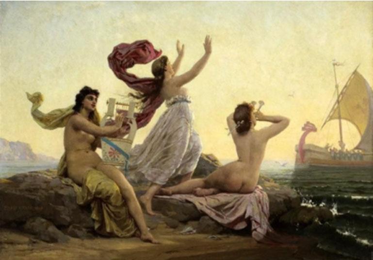 'Ulises y las sirenas', 1868, óleo de Firmin-Girard (Dominio público)