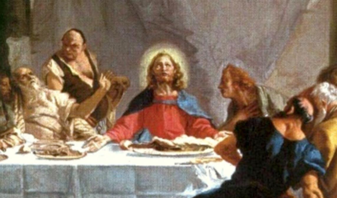 Detalle: Jesús en la Última Cena, óleo de Tiepolo (Public Domain)